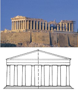 parthenon today and parthenon with line of symmetry indicated